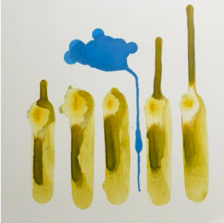 Carrie Childs Antonini, Green Bodies Blue Cloud, gouche on panel
