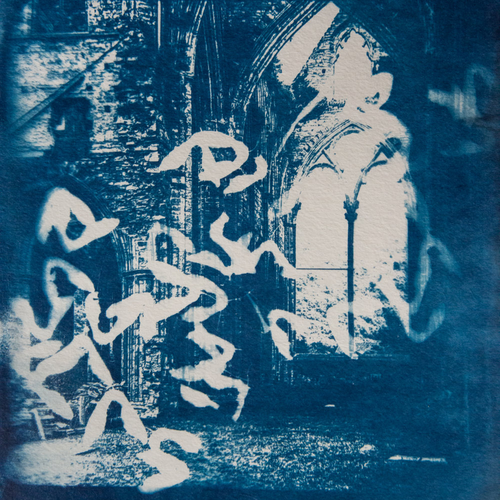 Marie Craig,  Abbey Ruin 3,  cyanotype on paper, 9x9