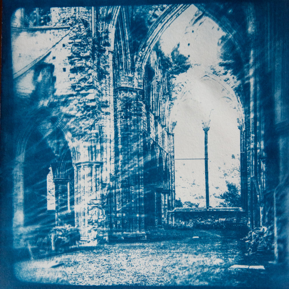 Marie Craig,  Abbey Ruin 2,  cyanotype on paper, 9x9
