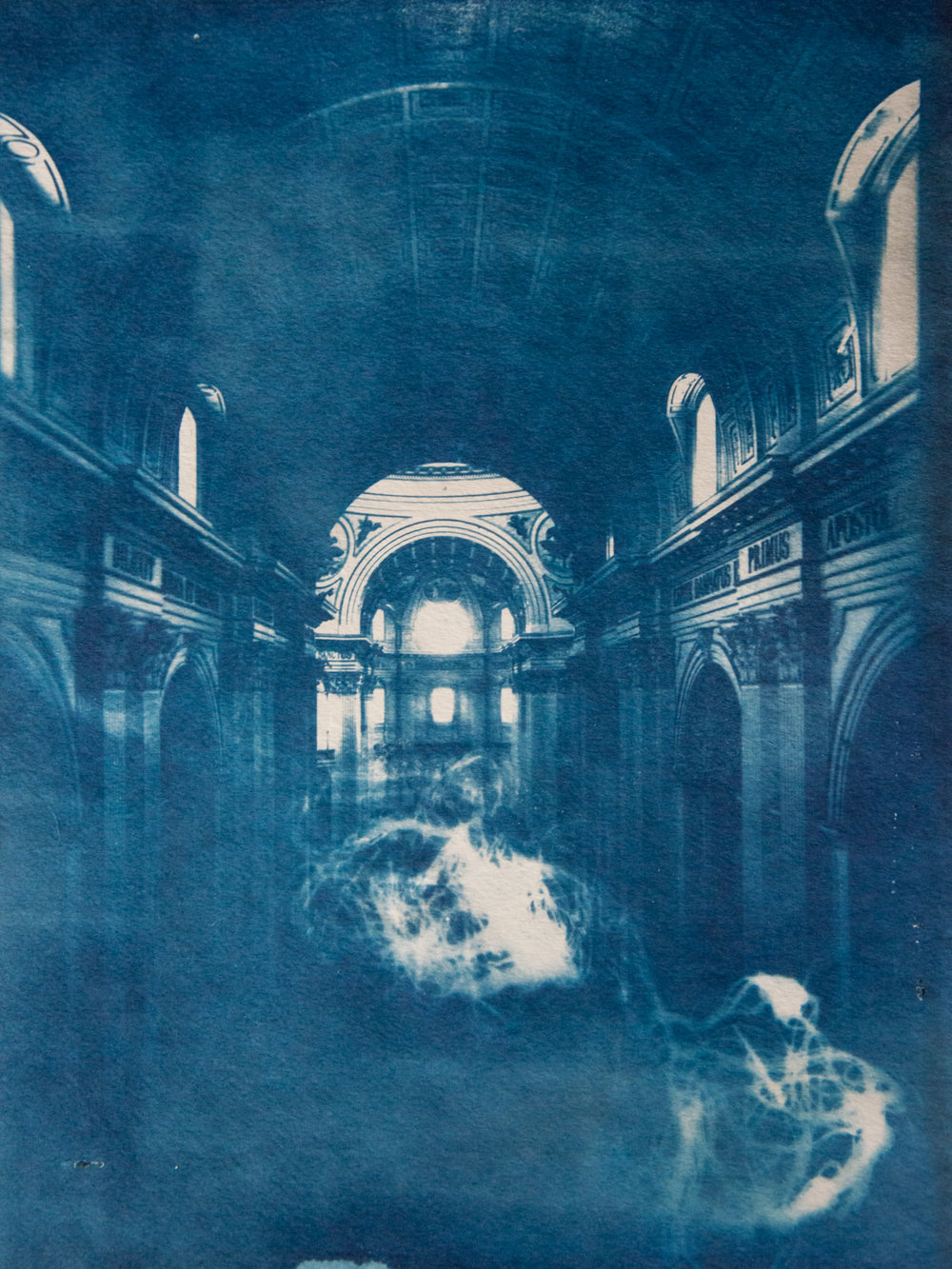 Marie Craig,  Dilexit 2,  cyanotype on paper, 12x9