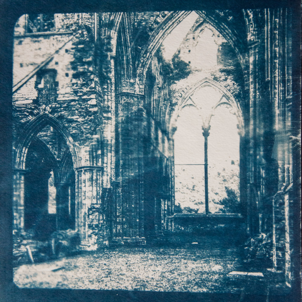 Marie Craig,  Abbey Ruin 5,  cyanotype on paper, 17x14