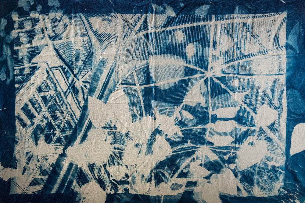 Marie Craig,  Beijing Archway 3,  cyanotype on linen, 80x56
