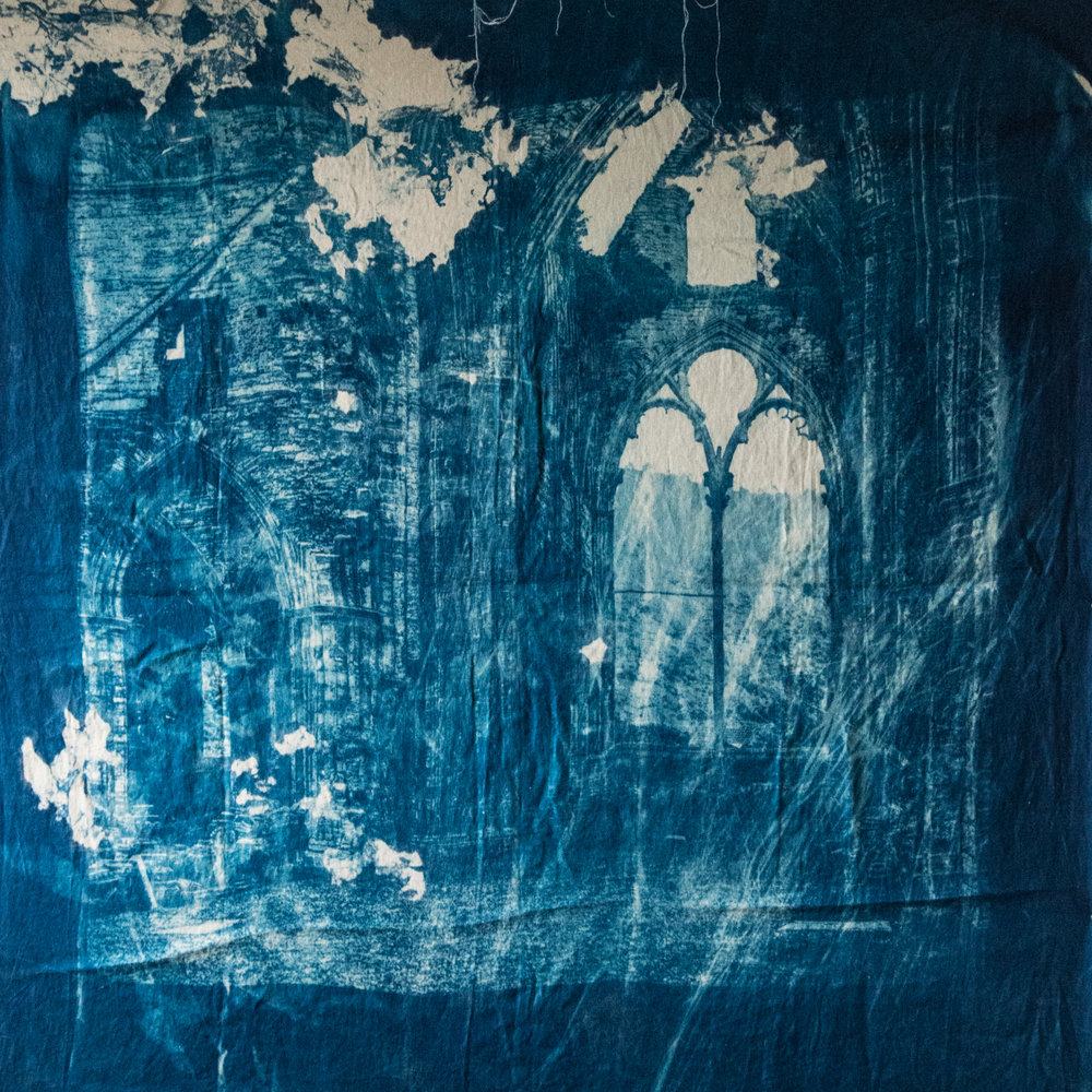 Marie Craig,  Abbey Ruin 6,  cyanotype on linen,  56x60