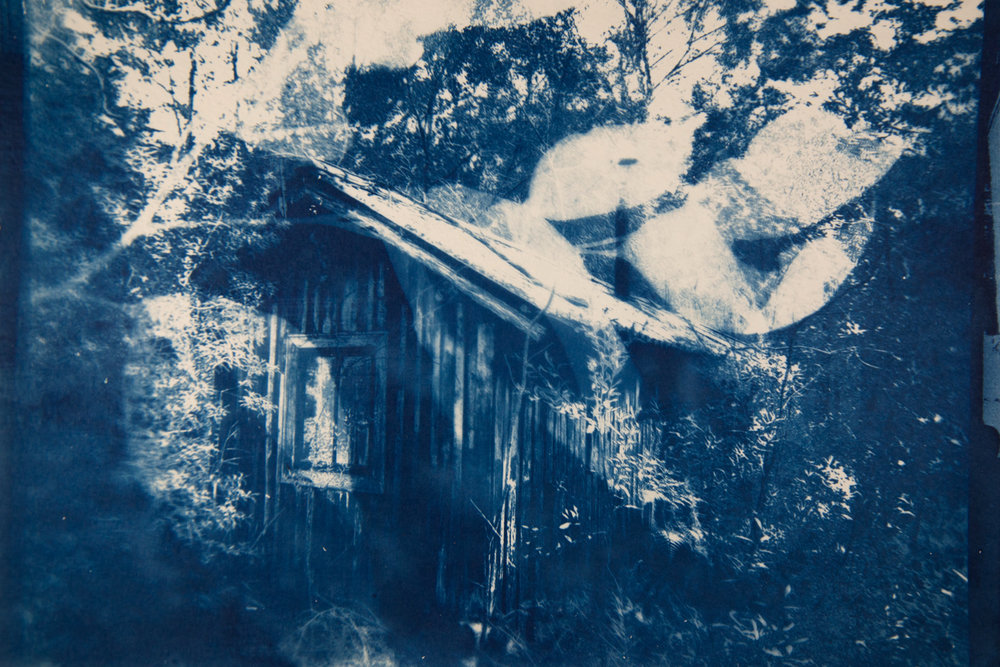Marie Craig,  Cabin 4,  cyanotype on paper, 14x17, framed
