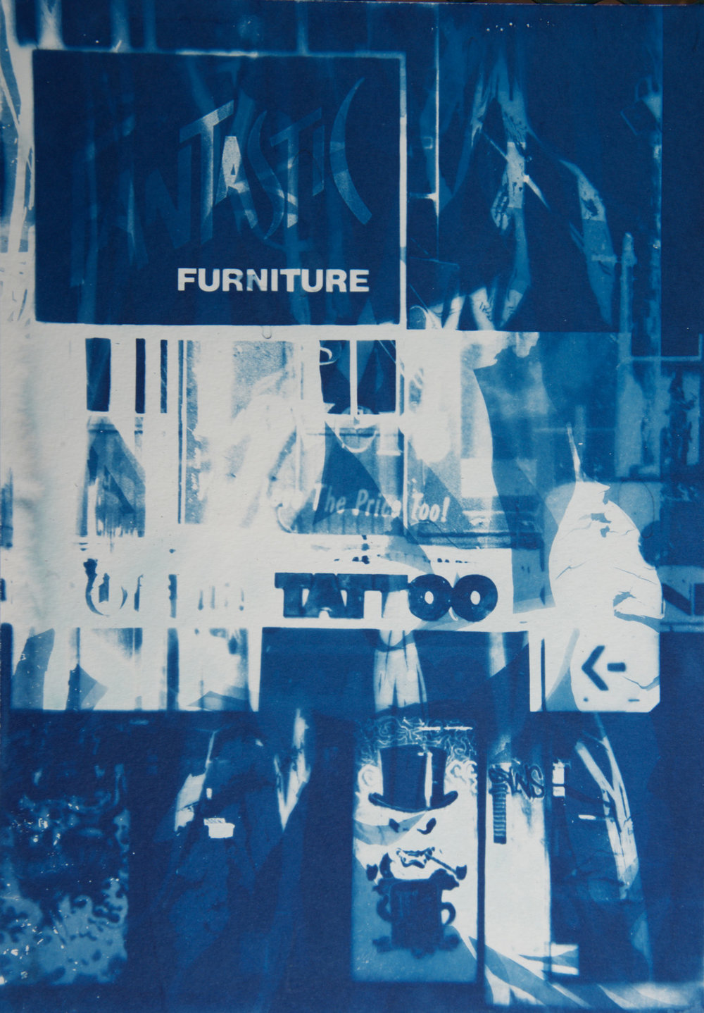Marie Craig,  Furniture/Tattoo , cyanotype on paper, 17x14, framed