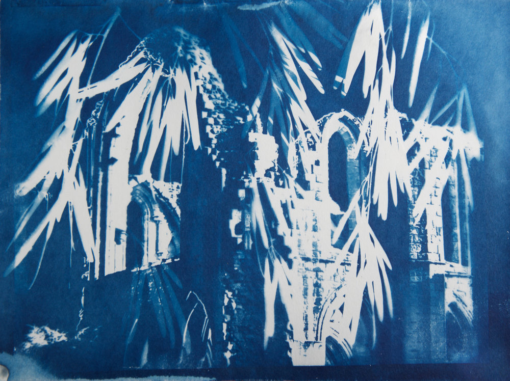 Marie Craig,  Fountains Abbey 2 , cyanotype on paper, 9x12