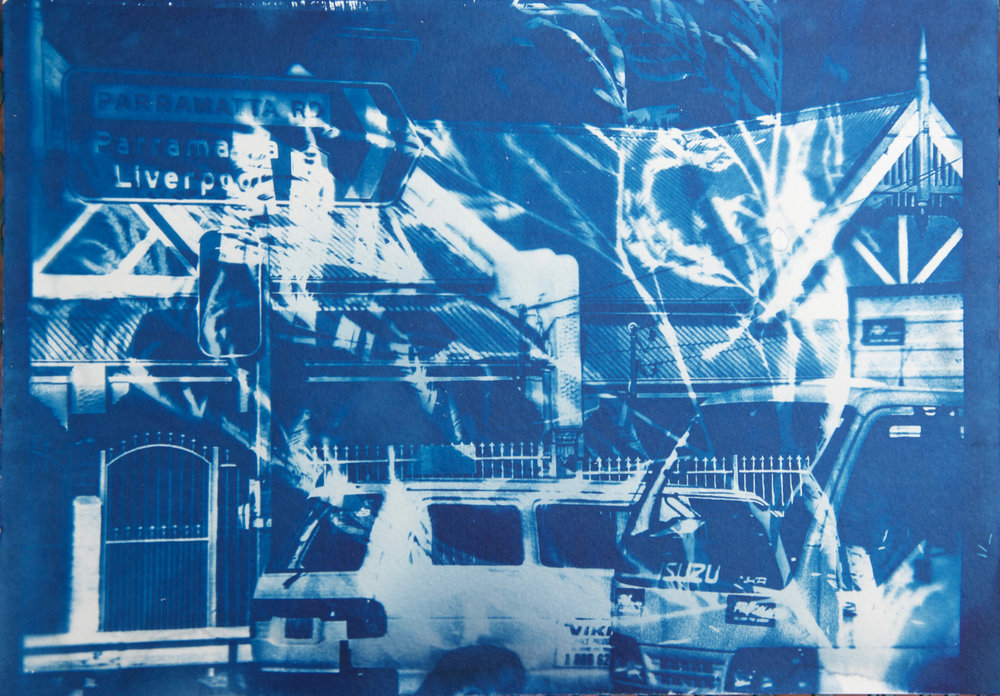Marie Craig,  Parramatta Road 2 ,  cyanotype on paper, 14x17, framed