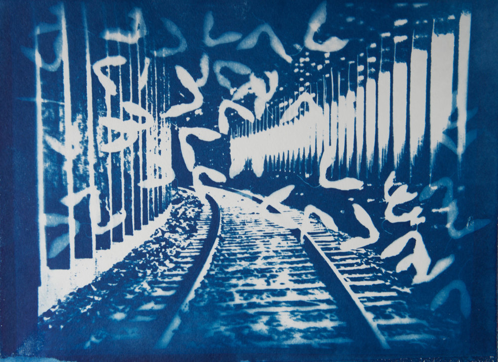 Marie Craig,  Railway Tunnel 2 , cyanotype on paper 9x12