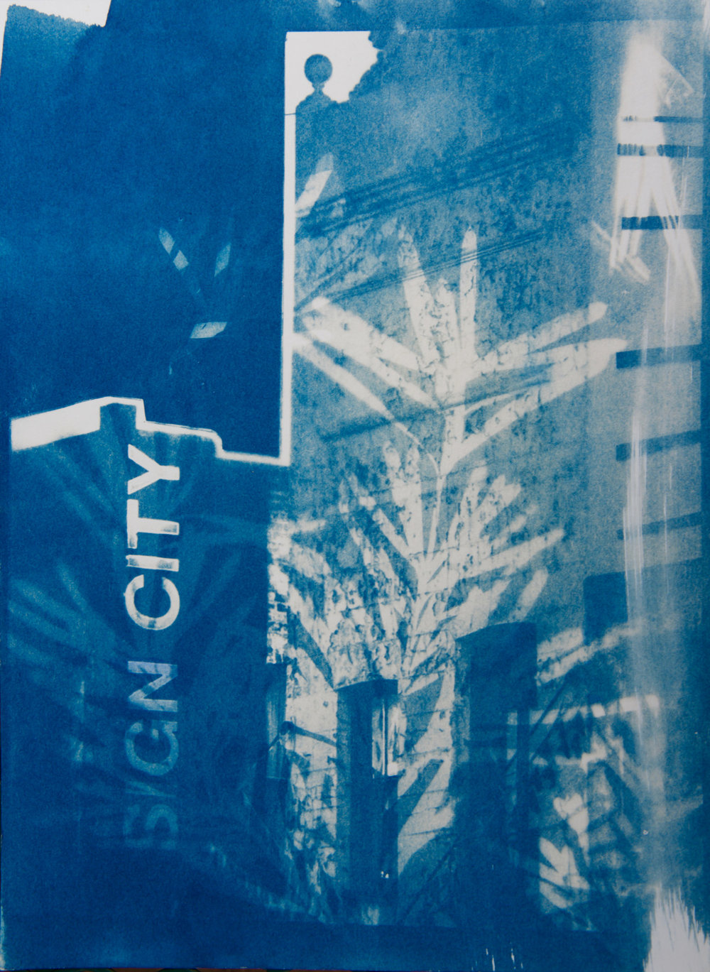 Marie Craig,  Sign City 4 , cyanotype on paper, 12x9