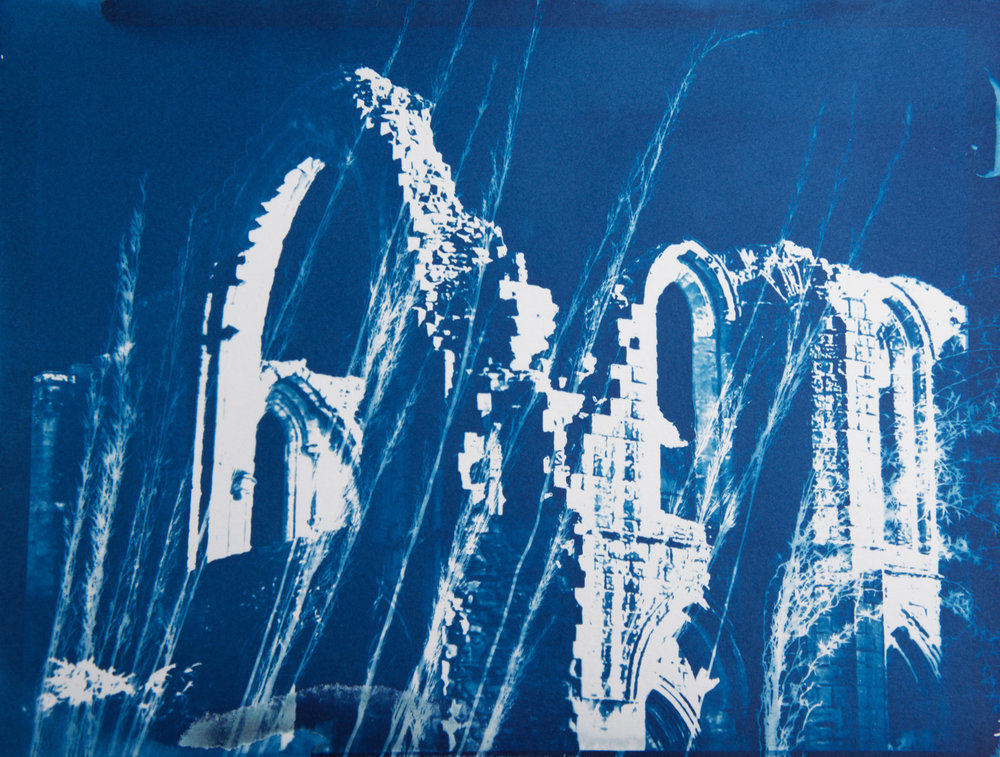 Fountains Abbey 1, cyanotype on paper, 9 x 12 in.