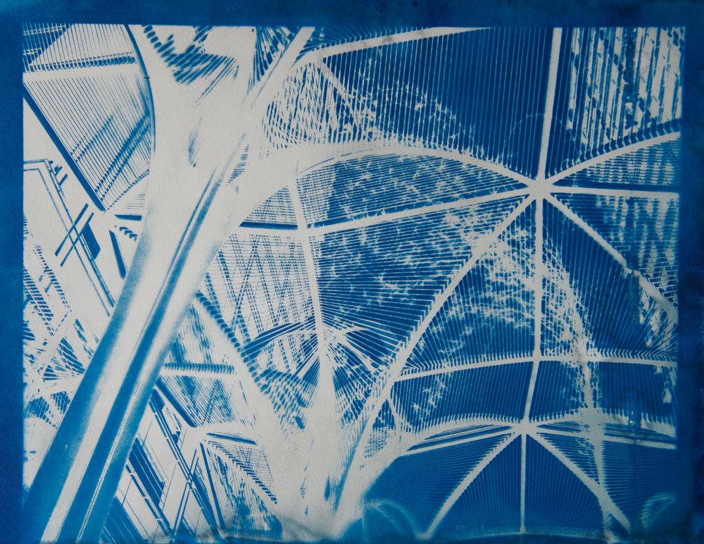 "Bejing Archway 2 , cyanotype on paper, 9"" x 12"""