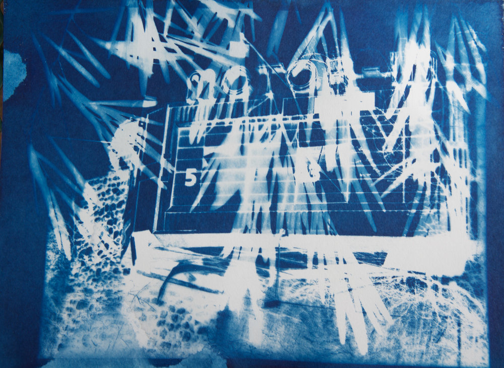 "Motor-In 5 , cyanotype on paper, 9"" x 12"""