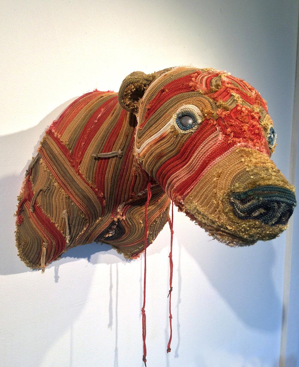 """Santa Maria's Bear , dyed longline fishing gear and mixed media, 20"""" x 16"""" x 13"""""""