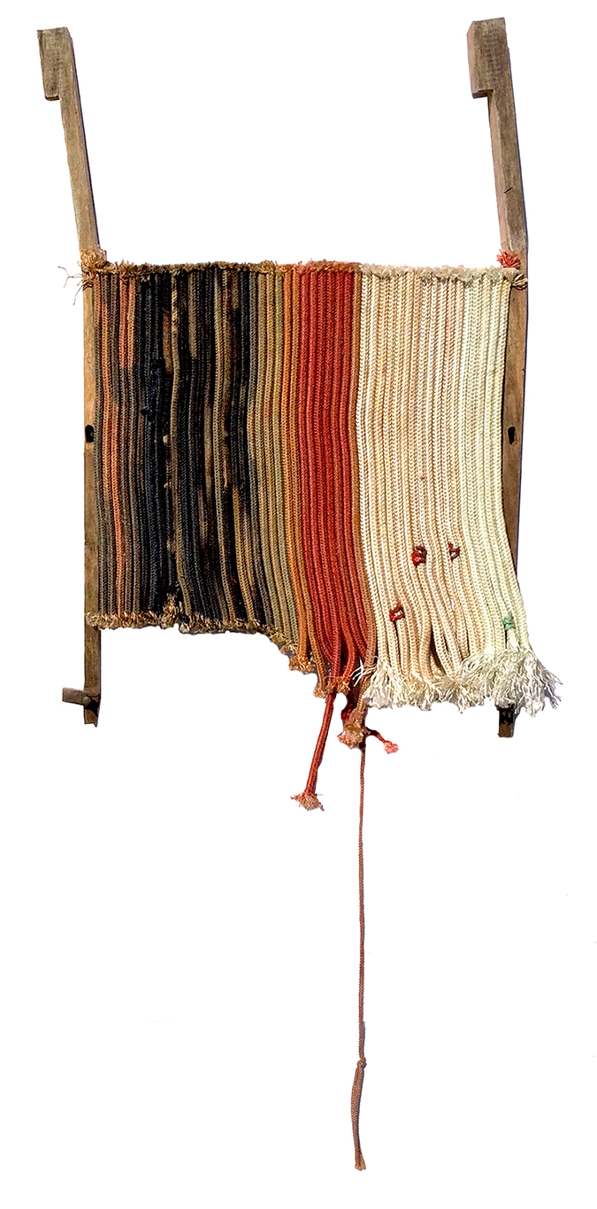 "Strata 3 , dyed longline fishing gear and mixed media, 12"" x 20"""