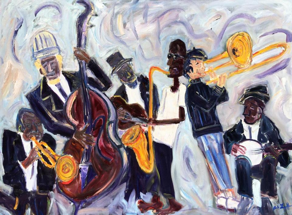 """The Local Commotions,"" by painter Bob Grignaffini, is among the pieces by members of his family in ""Grignaffini Rhythms: Music, Strokes and Steel,"" on display in Framingham."