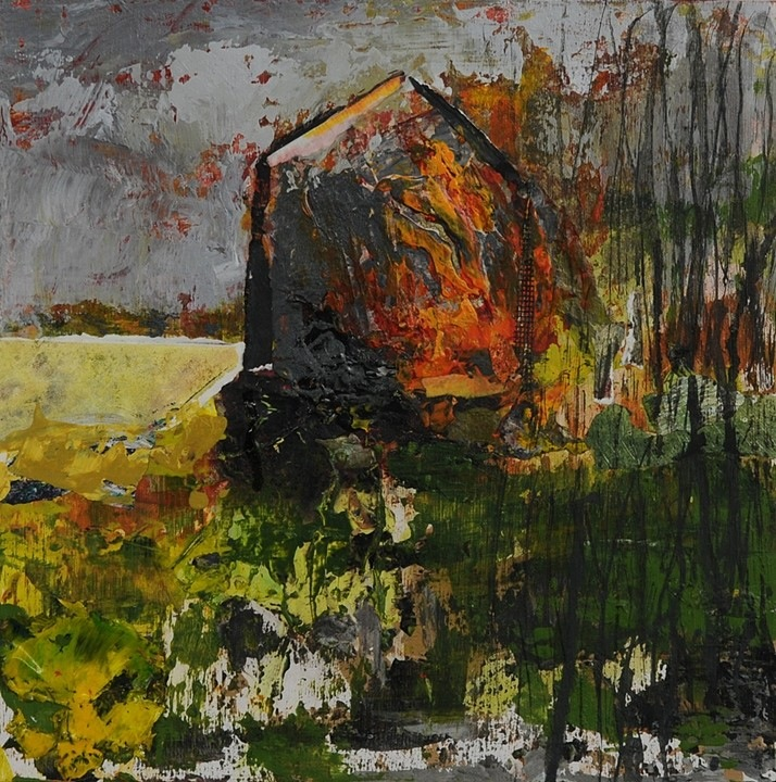 Brenda Cirioni,  Barn Series: Cloud Break,  Mixed media painting, 12x12