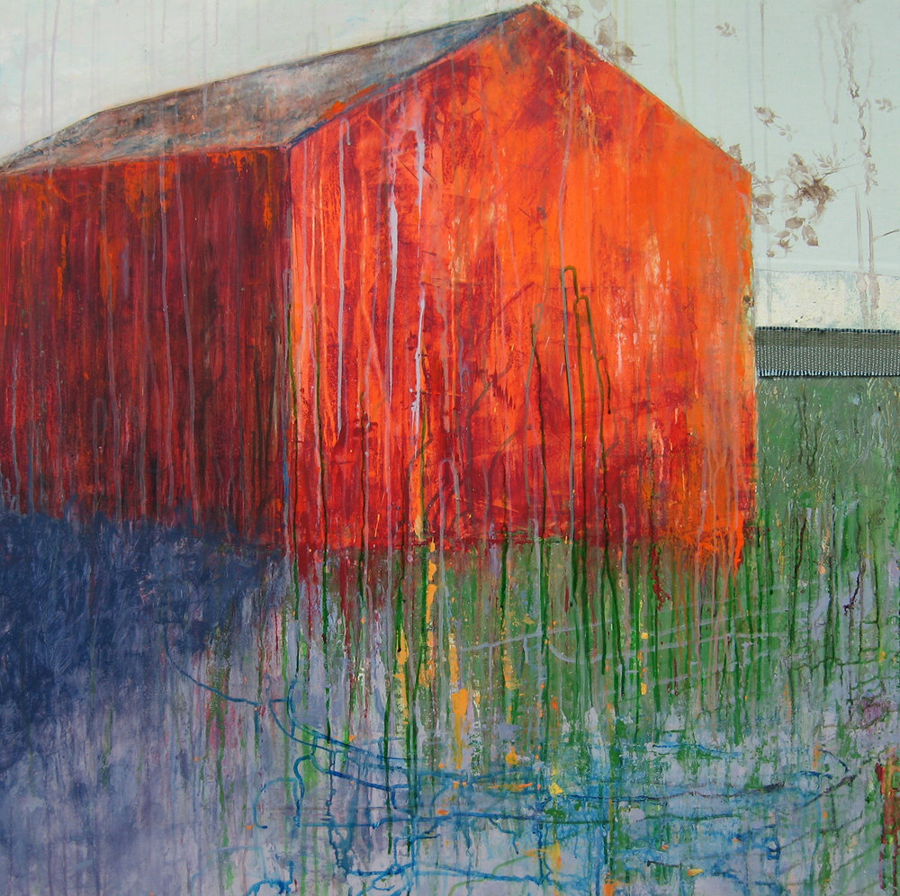 Brenda Cirioni,  Barn Series: Glow II,  Mixed media painting, 40x40