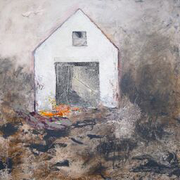 Brenda Cirioni,  Barn Series: Apparition,  Mixed media painting, 24x24