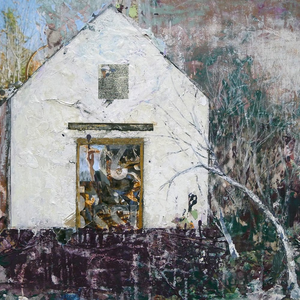 Brenda Cirioni,  Barn Series: Due Course,  Mixed media painting, 24x24
