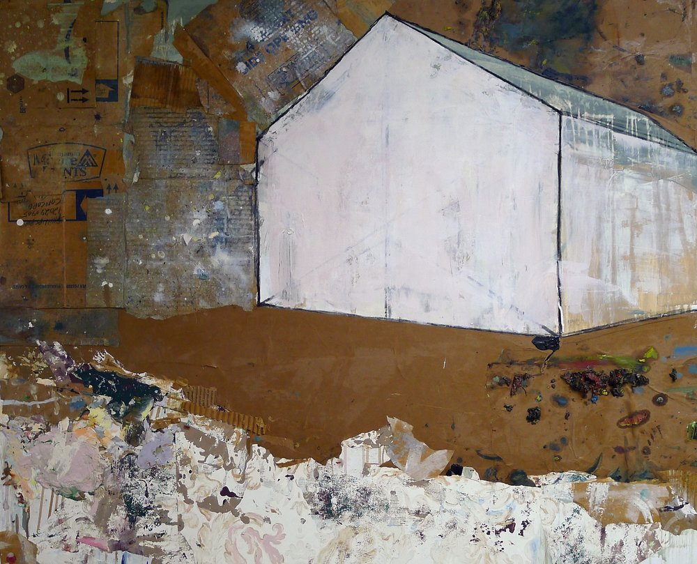 Brenda Cirioni,  Barn Series: Formation  Mixed media painting, 40x48