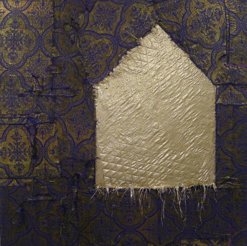 Brenda Cirioni,  Gold House,  Fabric, 30x30