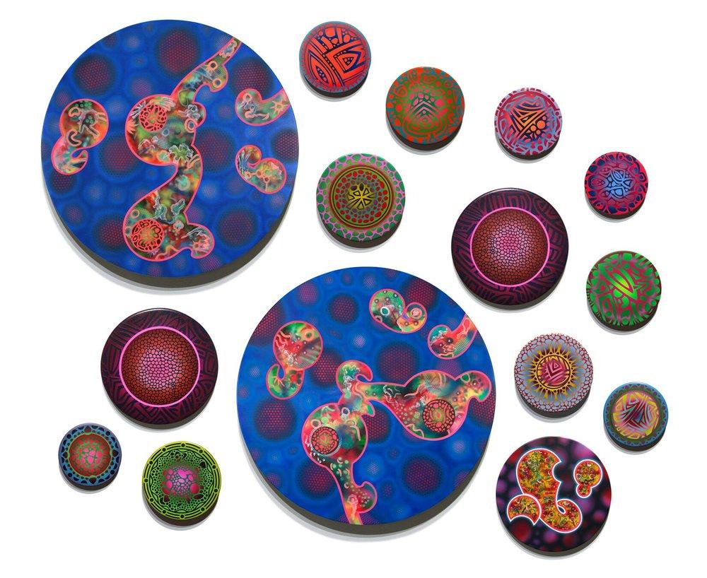 Darren McManus, Cosmosis: Cluster #3 ,acrylic on beveled wood,58 x 52, $13,100