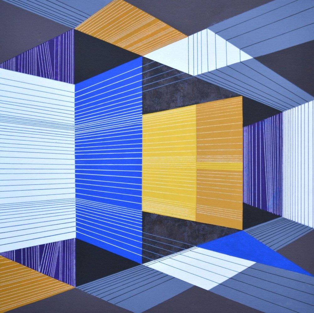S.K. Sahni, Space within Space 1-2017 , acrylic on canvas,24 x 24, $500