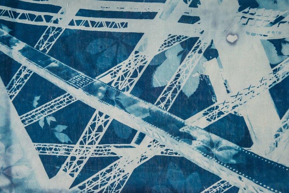 Marie Craig, Harbour Bridge 3, cyanotype on linen,24 x 36, $2,100