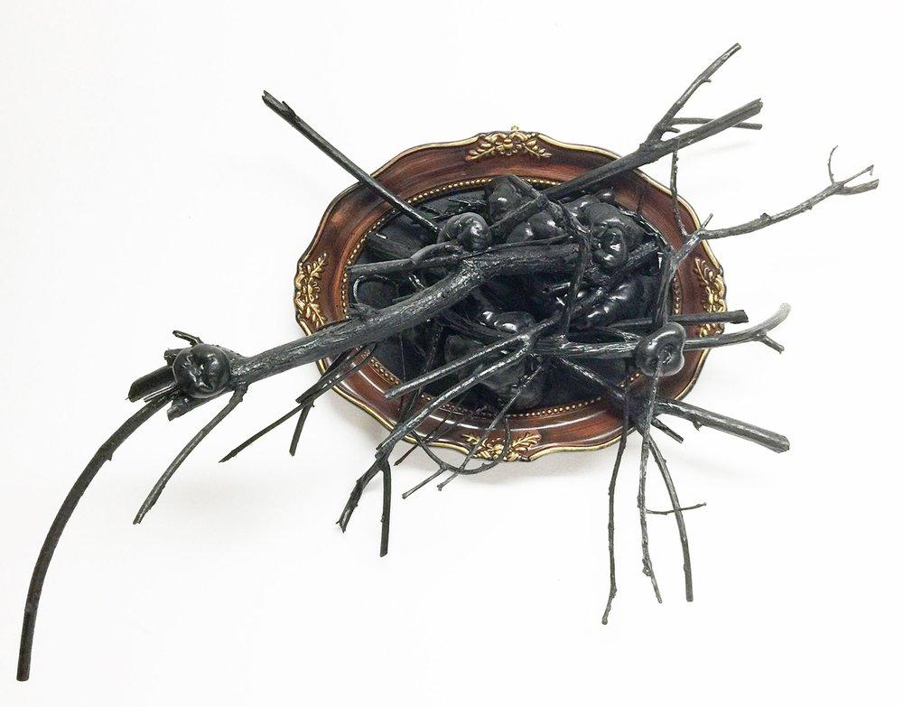 Donna Corvi,  Tree Totem: Things Past , mixed media,15 x 6 x 10,$350