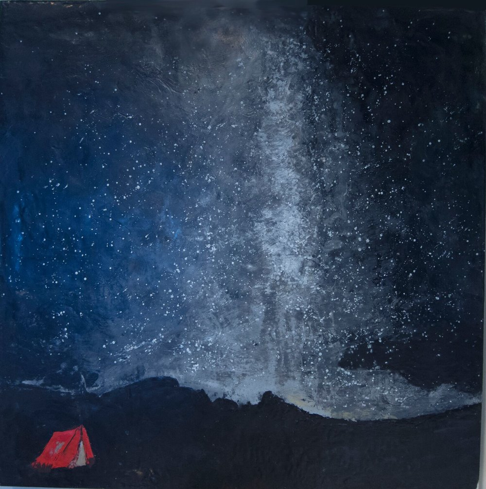 Catherine Weber, Another Night Sky , encaustic and pastel on panel,24 x 24,$800