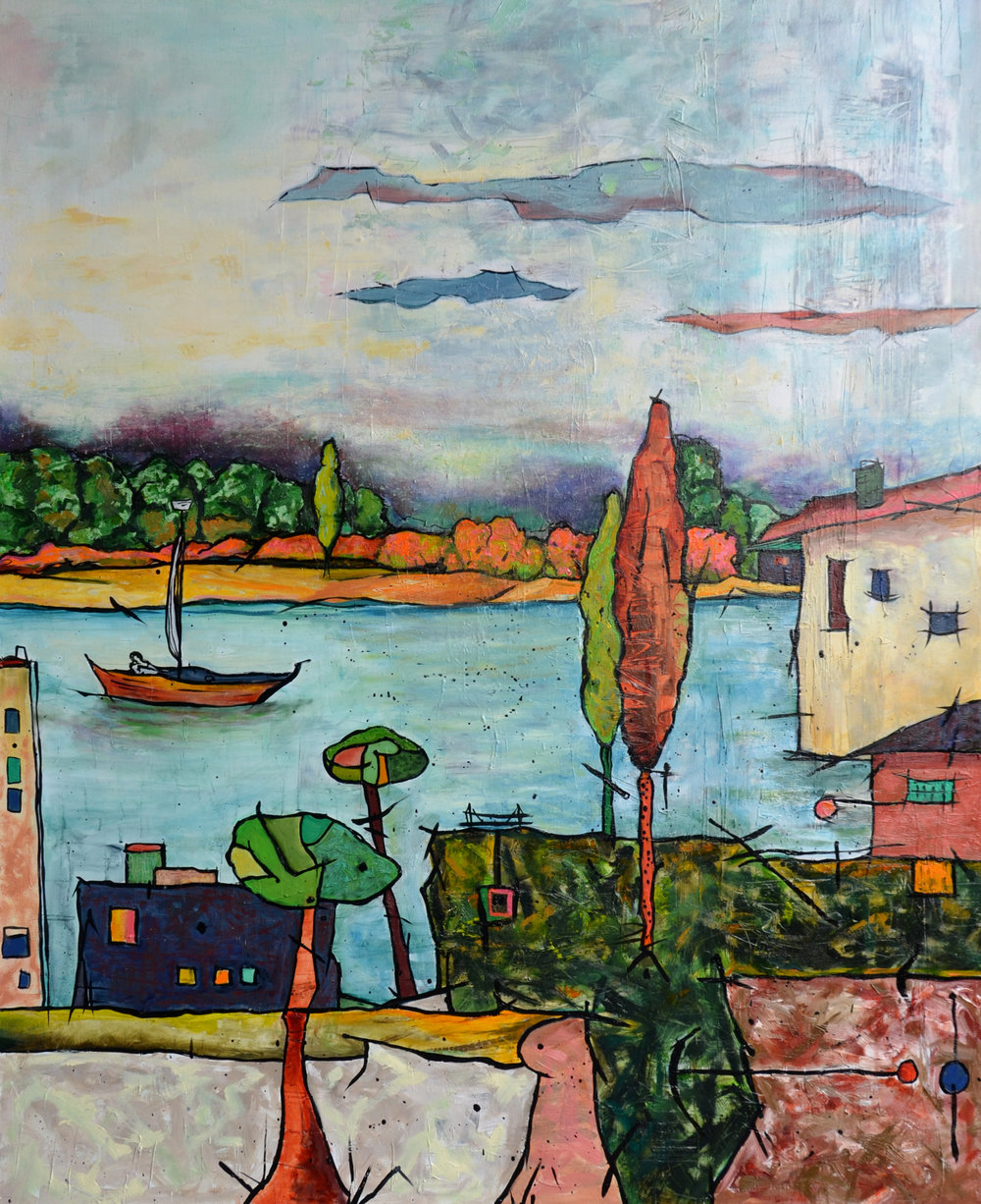"Anita Loomis,  A Nice Place , oil on canvas, 40"" x 50"""