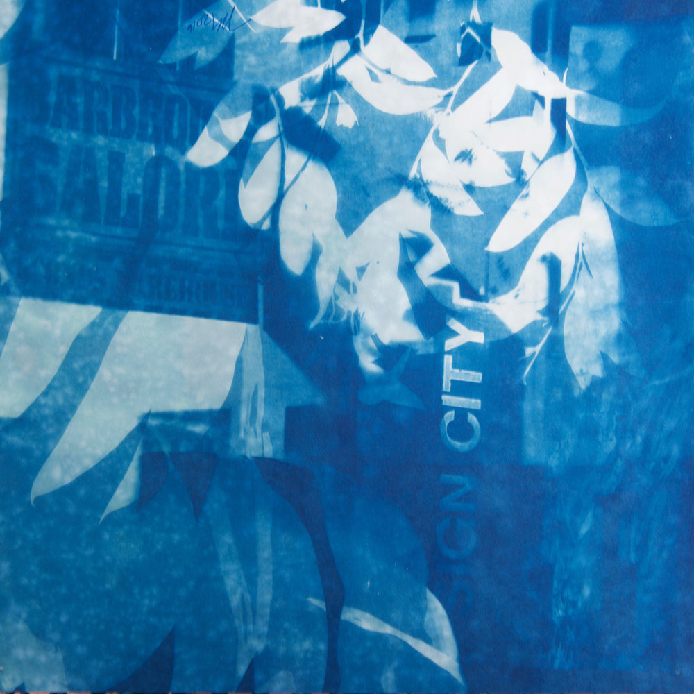 "Marie Craig,  Sign City Galore,  cyanotype on paper, 18"" x 18"""