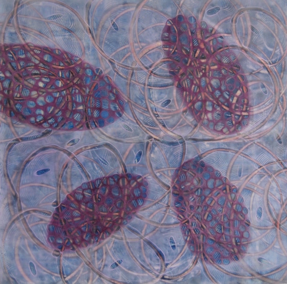 "Kay Hartung,  Entanglements 18 , encaustic and mixed-media, 24"" x 24"""