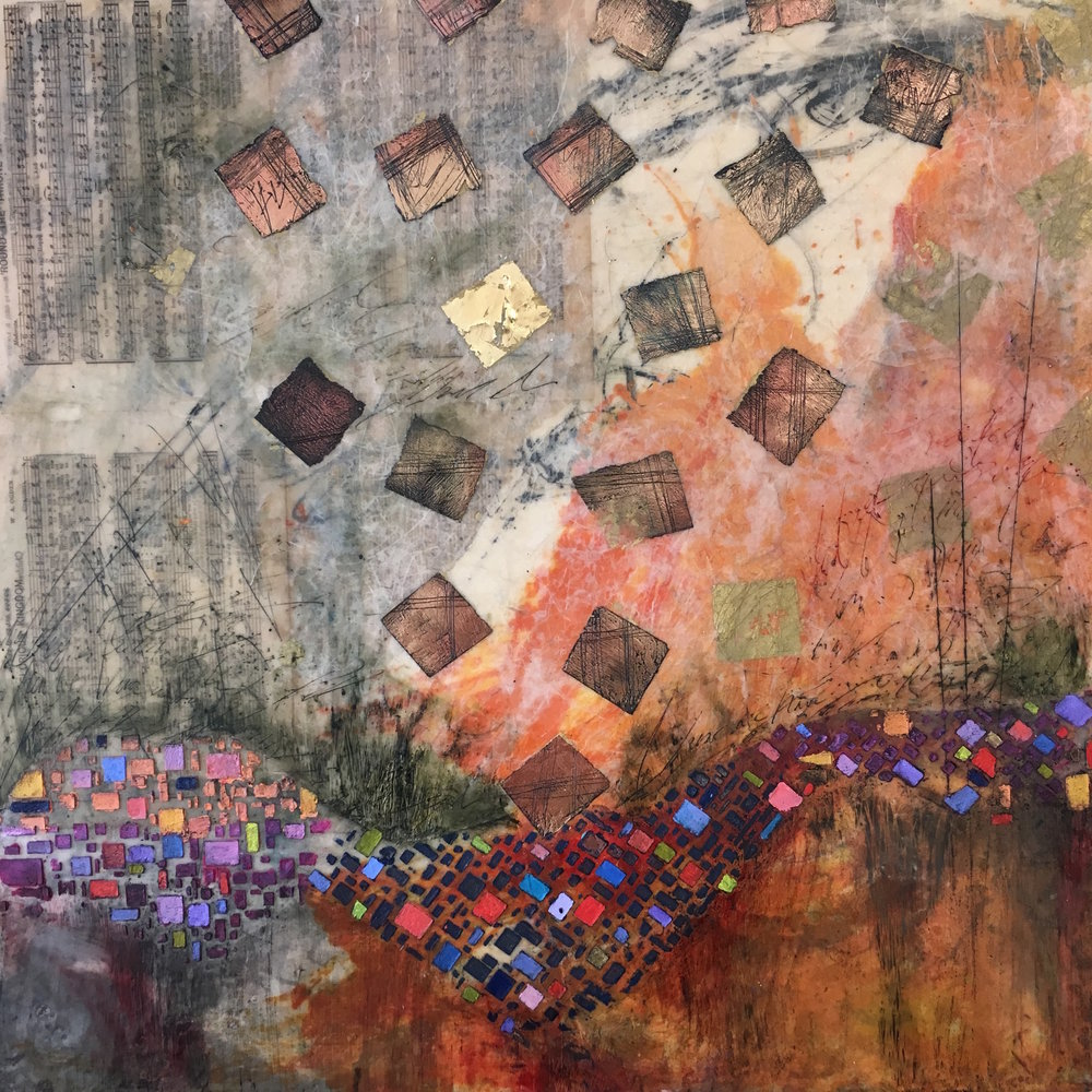 "Mary Marley,  Tumbledown , encaustic painting, 18"" x 18"""