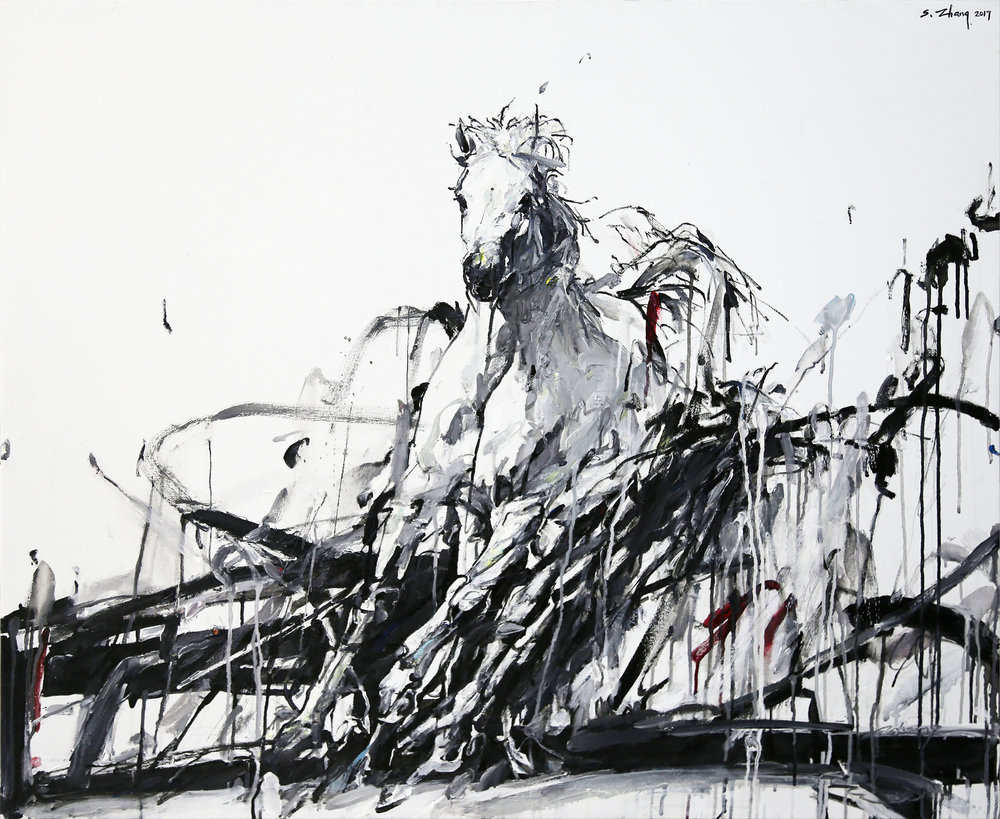 "Shao Yuan Zhang,  Wind Horse,  oil and acrylic on canvas, 38"" x 46"""