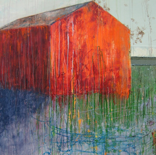 "Barn Series: Glow ll , mixed-media painting, 40"" x 40"""