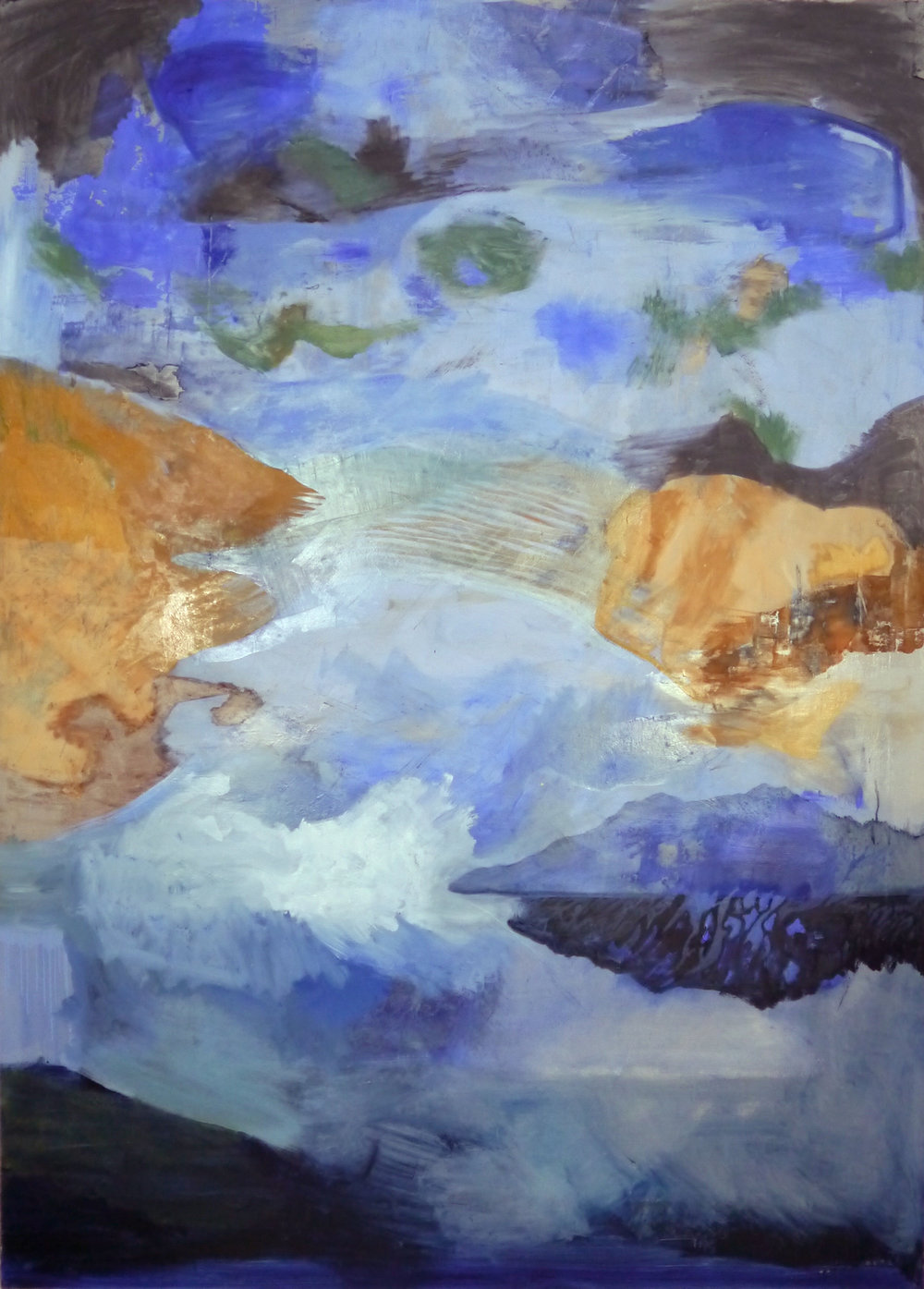 Kathline Carr,  Bay Towards the End,  Oil, graphite, plaster on paper mounted on wood, 67x50