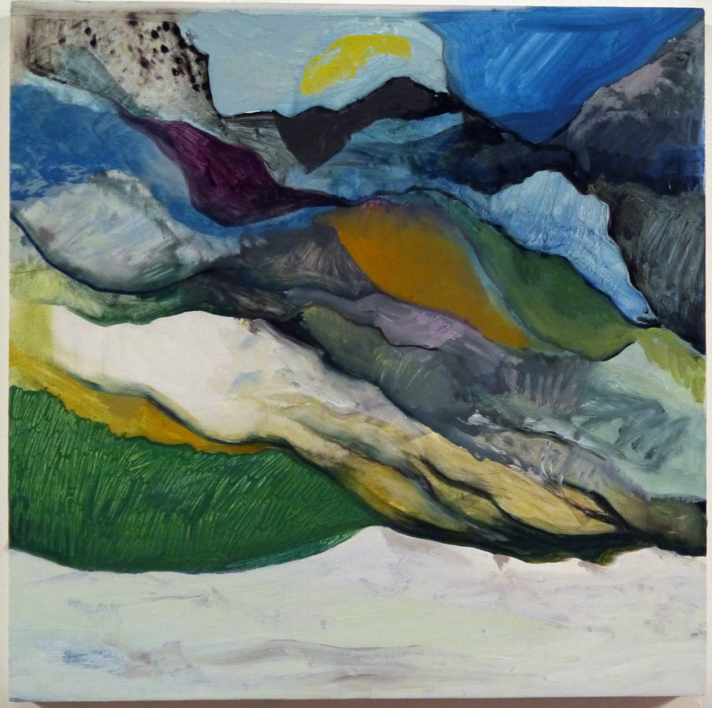 Kathline Carr,  On a Plain (Glaciation),   Oil and graphite on wood, 17x17