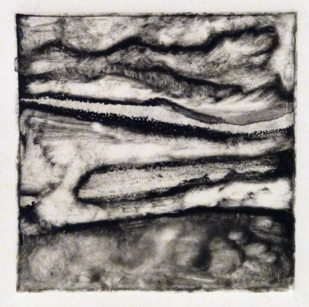 Kathline Carr,  Landform Series #3,  Monotype, 10x10 framed
