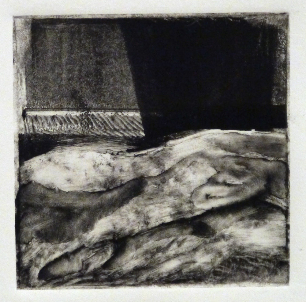 Kathline Carr,  Landform Series #4,  Monotype, 10x10 framed