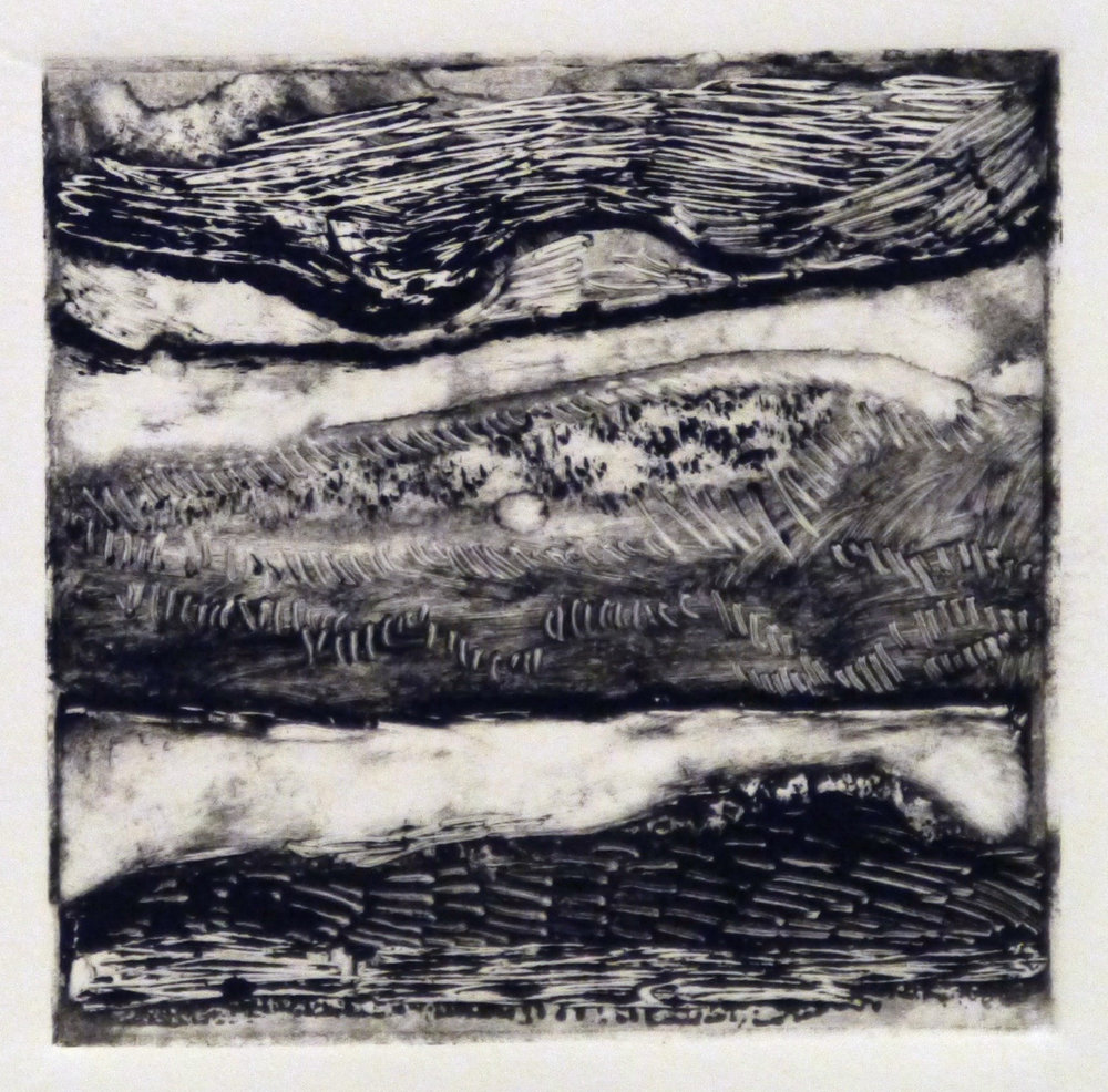 Kathline Carr,  Landform Series #5,  Monotype, 10x10 framed