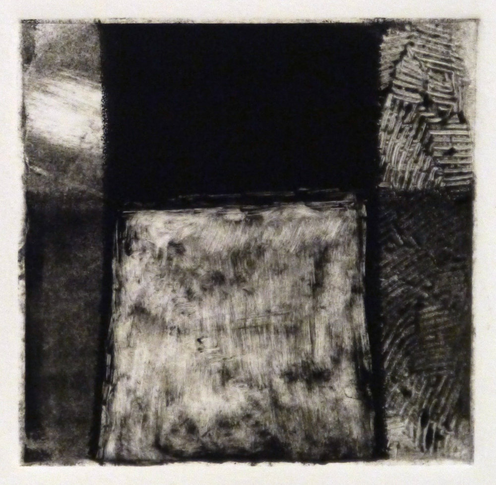 Kathline Carr,  Landform Series #6,  Monotype, 10x10 framed