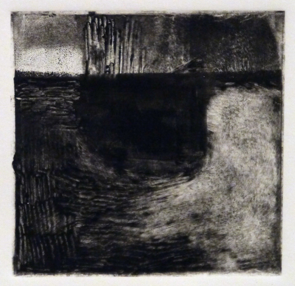 Kathline Carr,  Landform Series #8,  Monotype, 10x10 framed