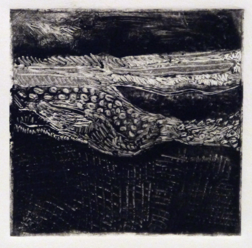 Kathline Carr,  Landform Series #9,  Monotype, 10x10 framed