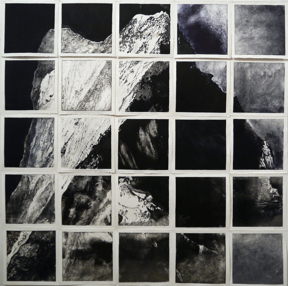 Kathline Carr,  Mountain: 25 Views,  Monotype installation