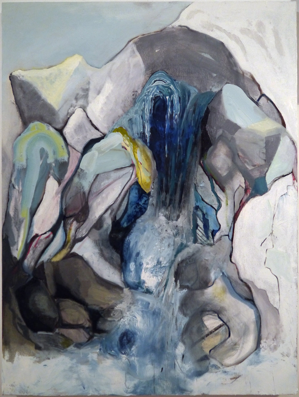 Kathline Carr,  Climbing the Fracture Zone , Oil and graphite on canvas, 40x30