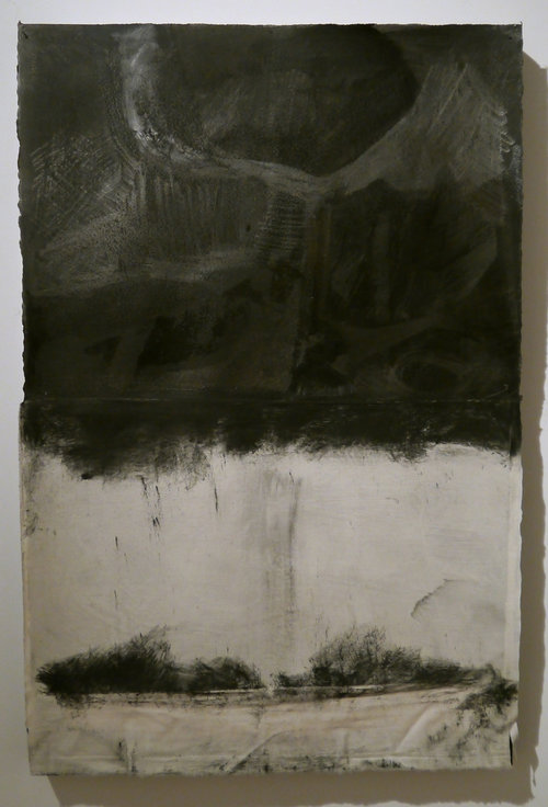 "Kathline Carr,  Below , graphite, muslin, acrylic on paper, 34"" x 22.5"""