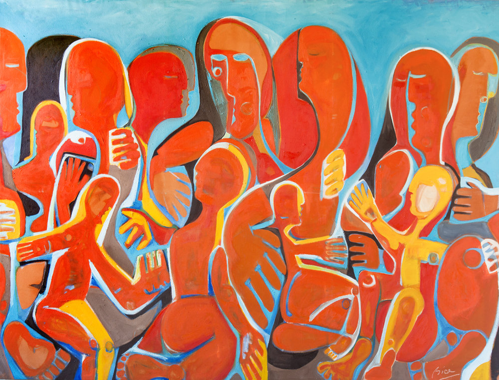 "Sorin Bica,  We're All Mothers , oil on canvas, 68"" x 99"""