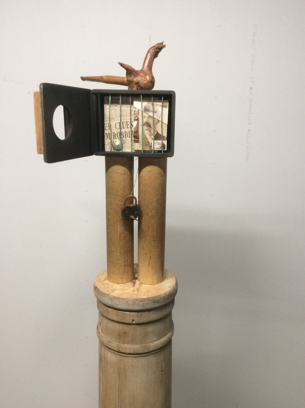 Stephen Martin,  Jail Bird House , assemblage, dimensions vary; 6' tall