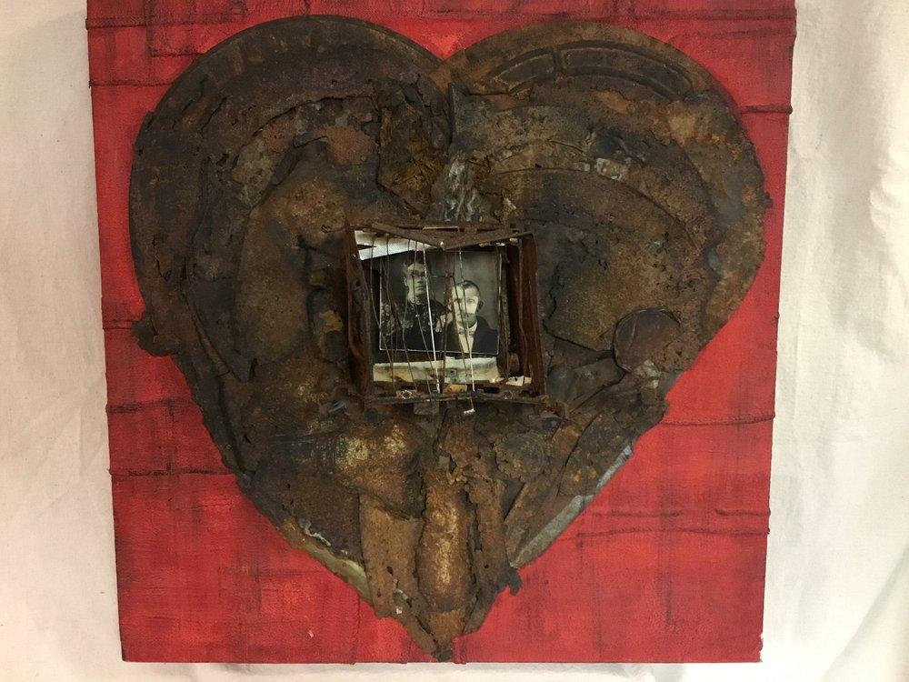 """Stephen Martin,  Bound by Love, assemblage, 24"""" x 24"""""""
